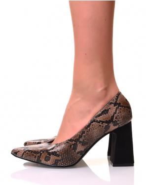 Escarpins à bouts pointus python marron et talons trapèzes