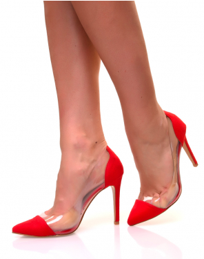 Escarpins à empiècements en suédine rouge