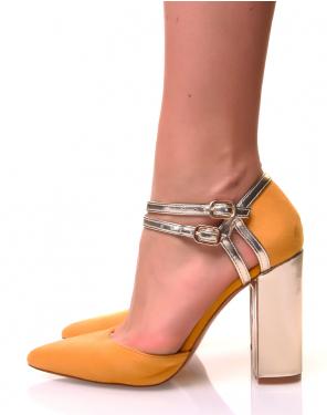 Escarpins à talons et bouts points jaunes et dorés
