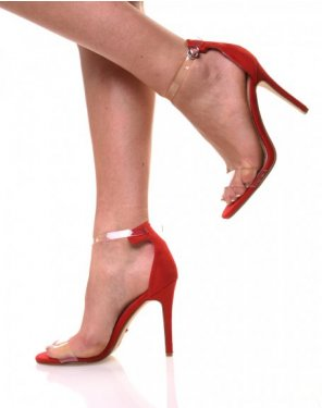 Escarpins bi matières rouges