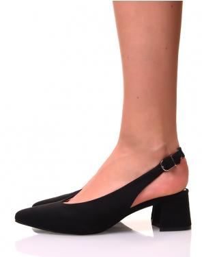 Escarpins en suédine noirs à petits talons