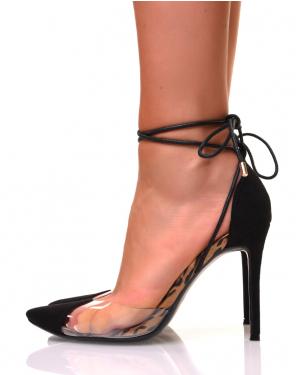Escarpins noirs à talons aiguilles et à bouts pointus transparents