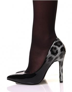 Escarpins noirs dégradé léopard gris vernis