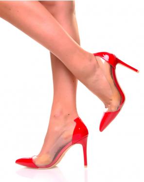 Escarpins rouges pointus bi-matières transparentes