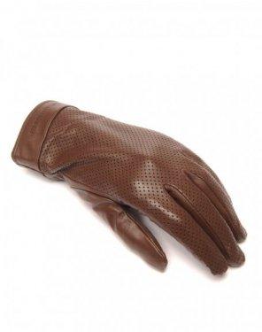 Gants en cuir chocolat LuluCastagnette perforé