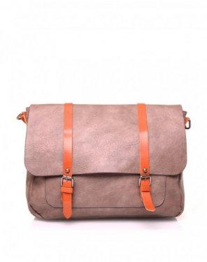 Grand sac bandoulière vintage taupe