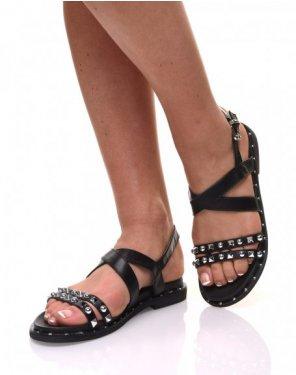 Nu pieds à brides cloutés noirs