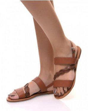 Nu-pieds à lanières épaisses camel