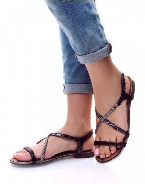 Nu-pieds à lanières tricolore noir