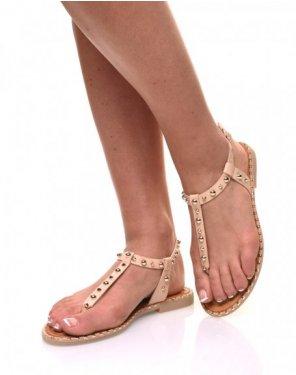 Nu pieds beige cloutés or