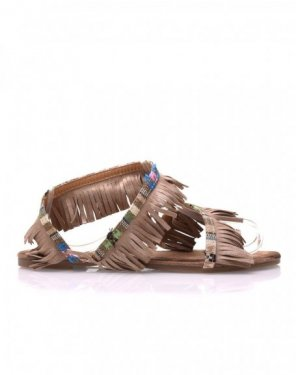 Nu-pieds beiges à franges