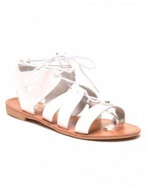 Nu-pieds blanc à lacet