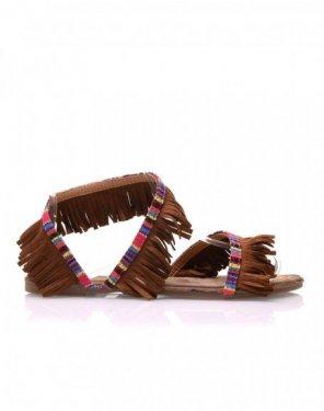 Nu-pieds camel à franges
