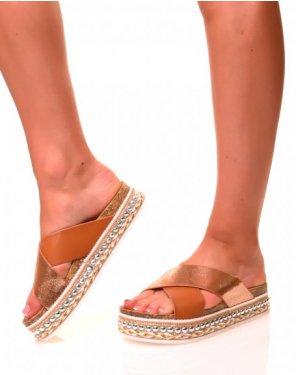 Nu-pieds camel à semelles compensées à détails
