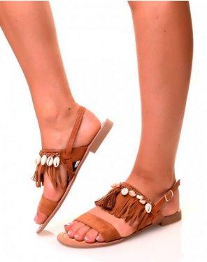 Nu-pieds camel en suédine à brides à franges et coquillages