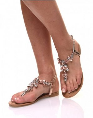 Nu pieds détail strass bijou champagne