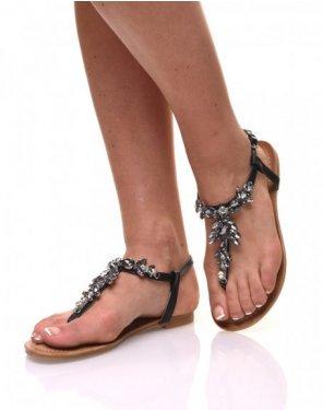 Nu pieds détail strass bijou noirs