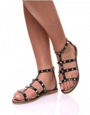 Nu-pieds noirs à brides cloutées