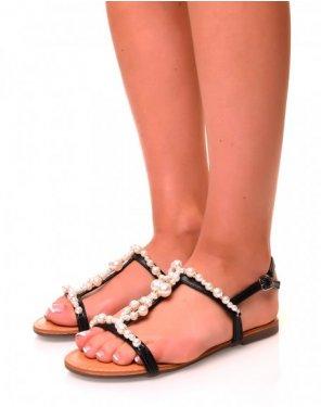 Nu-pieds noirs à détails perlés et strass