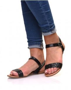 Nu-pieds noirs à lanière pailletée