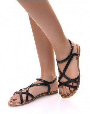 Nu-pieds noirs à lanières croisés écaillées