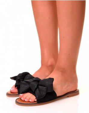 Nu-pieds noirs à larges brides à noeuds