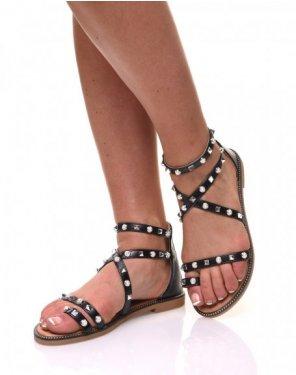 Nu-pieds noirs cloutés et perlés