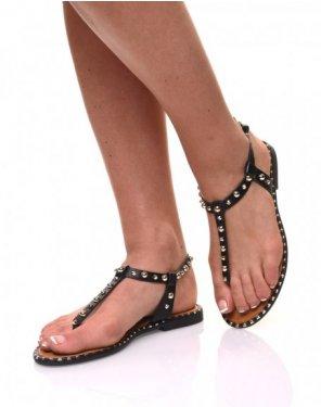 Nu pieds noirs cloutés or