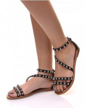 Nu-pieds ornés de clous ronds noir