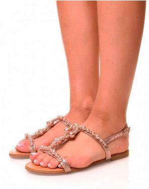 Nu-pieds roses gold à détails perlés et strass