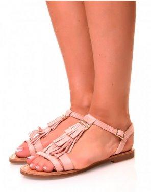 Nu-pieds roses pâles à franges