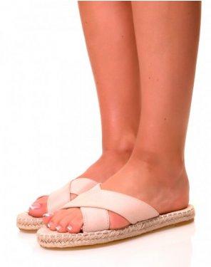 Nu-pieds roses pâles à lanières croisées