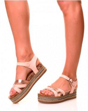 Nu-pieds roses pâles à multiples lanières et semelles épaisses