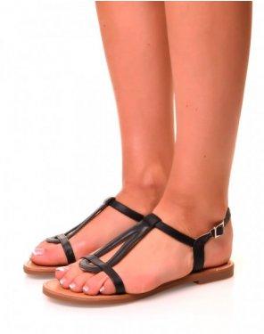Nu-pieds simili cuir noirs à semelles plates