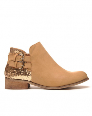 Original low boots camel pailleté