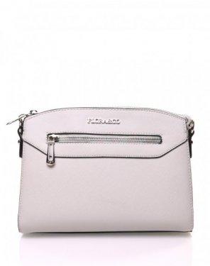 Petit sac bandoulière rectangulaire texturé gris clair