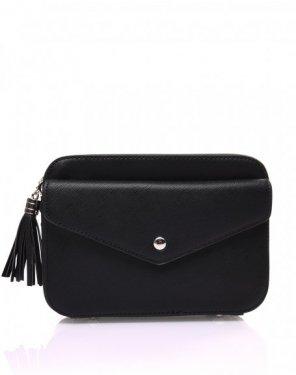Petit sac bandoulière texturé noir et fermeture pompon