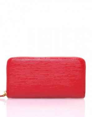 Porte feuille rouge verni effet reliefs