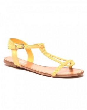 Sandale/nu pieds tressé jaune