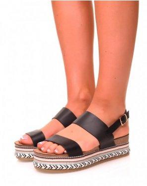 Sandales à brides noires et plateformes à motifs