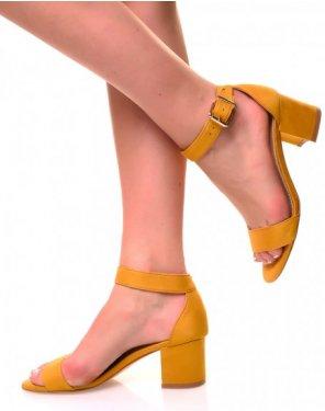 Sandales à petits talons en suédine jaunes