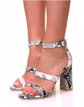 Sandales à talons à multiples lanières effet python