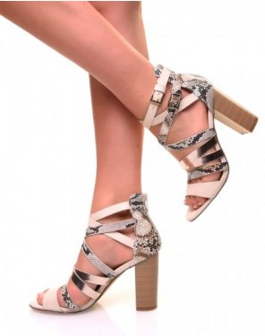 Sandales à talons à multiples lanières effet python beige