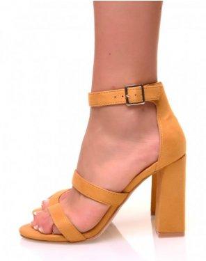 Sandales à talons à multiples lanières jaunes