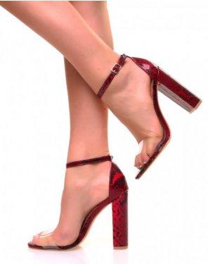 Sandales à talons carrés bordeaux et lanières transparentes