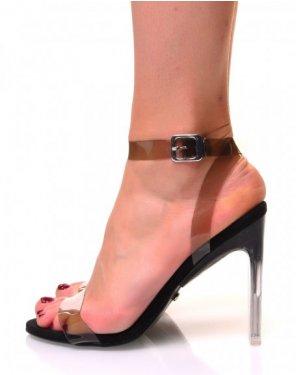 Sandales à talons carrés effet transparent noir