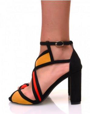 Sandales à talons carrés en suédine et empiècements colorés