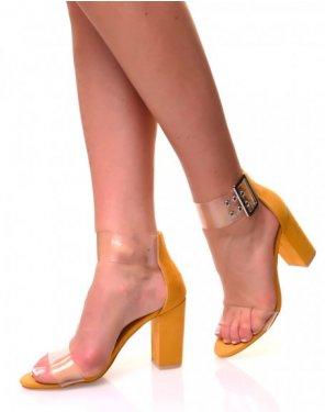 Sandales à talons carrés en suédine jaunes et sangles transparentes