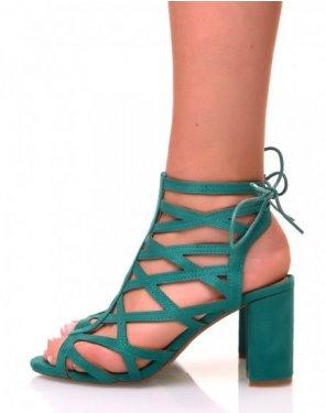 Sandales à talons carrés en suédine vertes