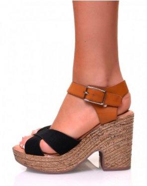 Sandales à talons compensés bi-matières noires et camelles